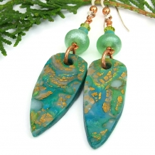 Aqua blue mokume gane handmade earrings
