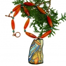 Klimt pendant necklace with carnelian