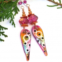 Colorful one of a kind boho spike earrings.