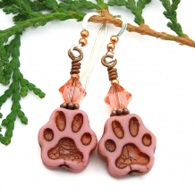 cat dog paw print earrings with swarovski crystals