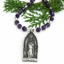 cathedral window praying figure pendant and amethyst jewelry