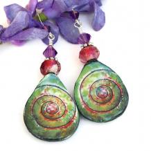 ceramic spiral jewelry in green pink purple