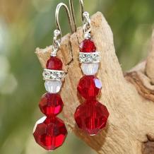 swarovski crystal santa earrings christmas gift for women