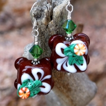 Chocolate petit fours Christmas earrings.