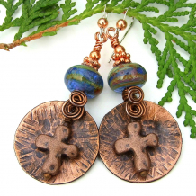 christian cross rustic earrings with lampwork