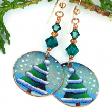 christmas trees and snow holiday jewelry with green crystals