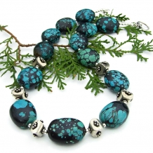 chunky real turquoise nugget necklace gift idea for women