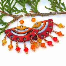 colorful enamel chandelier jewelry in yellow orange red