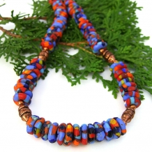 African recycled glass necklace.