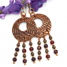 copper fern hoop chandelier earrings gift for women