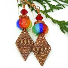 rainbow and copper boho earrings for women