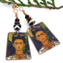 copper frida kahlo earrings with 1940 self portrait