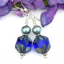 Cobalt blue earrings.
