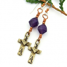 cross and hearts jewelry with purple amethyst gemstones