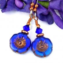 czech glass flower earrings blue copper