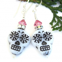 czech glass skull earrings with pink swarovski crystals for Day of the Dead