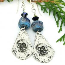 day of the dead skull earrings halloween rustic