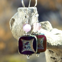 One of a kind purple Czech glass, amethyst and sterling silver artisan earrings