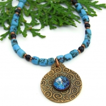 bronze spiral and dichroic pendant necklace for women