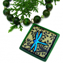 dichroic dragonfly jewelry with green silver leaf jasper gemstones