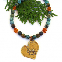 dog lover paw print heart necklace african turquoise amber