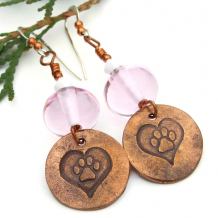 dog paw prints and hearts dangle earrings