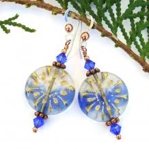 Blue flower earrings.