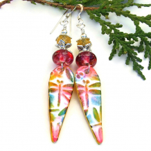 dragonfly lightweight earrings with pink lampwork yellow beads
