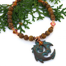 drogon dragon necklace with swarovski crystals fire opal