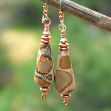 earthy spotted leopardite gemstone teardrop earrings with copper