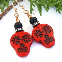 Unique red and black sugar skulls handmade Day of the Dead earrings.