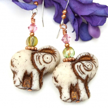 elephant jewelry with lime green glass pink crystals