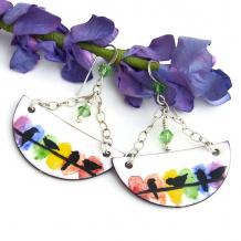 enamel birds half moon dangle earrings sterling chain