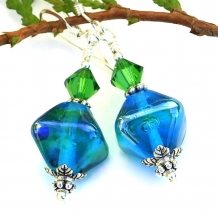 One of a kind aqua lampwork and green Swarovski crystal earrings.
