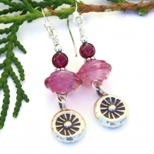 fine silver sun earrings with pink lampwork and garnet