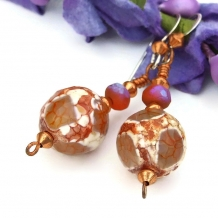 One of a kind crackle agate and Czech glass handmade earrings.