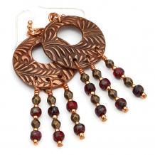 copper fern hoop chandelier earrings gift for women