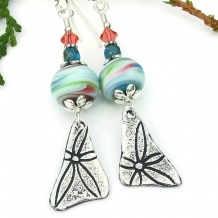 Flower power lampwork earrings for women