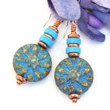 flower earrings with turquoise magnesite jewelry gift