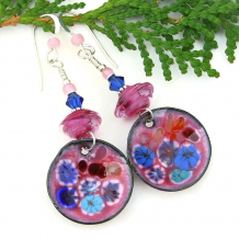 flower floral pink millefiori handmade disc earrings blue aqua