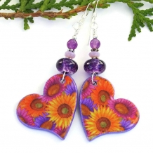 hearts and flowers valentines day earrings