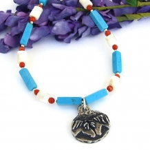 One of a kind horse pendant necklace in a Southwest colors.