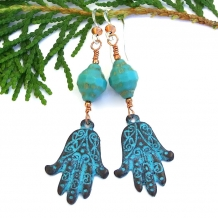 Unique artisan hamsa / hand of Fatima handmade earrings with turquoise glass.