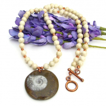 fossil ammonite necklace with riverstone and copper