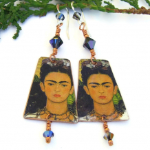 frida kahlo earrings with Swarovski crystals