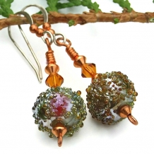 Sugared moss green lampwork handmade earrings with topaz Swarovskis
