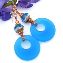 frosted blue dangle earrings czech glass copper jewelry gift