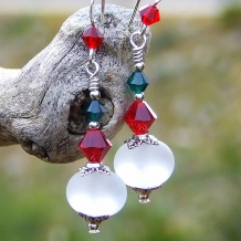 Red, white and green handmade Christmas earrings