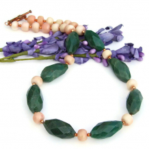 green aventurine and peach coral necklace for women