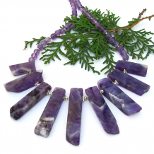 gemstone necklace purple amethyst sterling silver gift for women